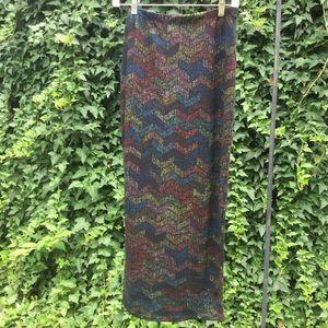 Go Couture Opaque Color  Chevron Design Maxi Skirt